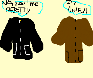 black jacket comforts self-conscious brown one