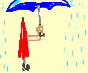 Umbrella holding an umbrella