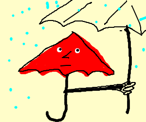 A red umbrella using another umbrella