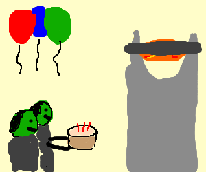 Surprise party for a blindfolded Sauron.