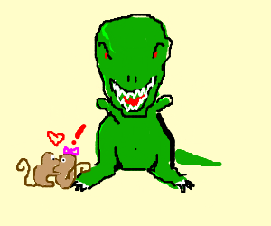 monkeys in love & and angry T-REX