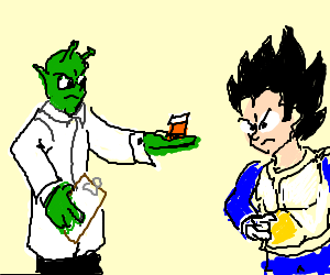 Dr. Piccolo gives Vageta his daily dose.