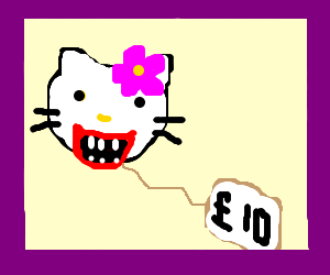 hello kitty buys a new mouth at a sale!