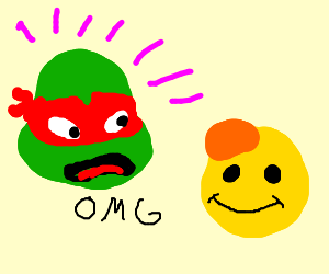 Raphael is taken aback by Happy Face's tumor.