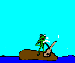kermit masturbates on an island with a guitar