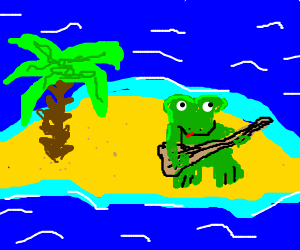 frogg is playing guitar on an island