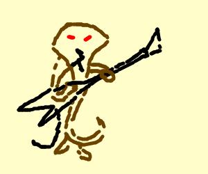 Man-Cobra plays an unplugged electric guitar.