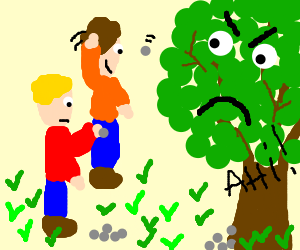 2 children throw stones at a tree