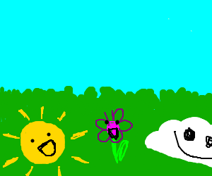 Happy sun, flower, and cloud, hang out on grass