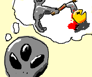 3eyed alien thinking of killing Pac Man w/ an ax