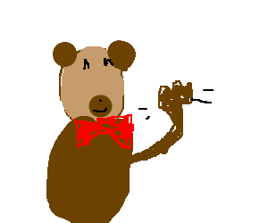"""Bear with red tie wishes the day """"Hello"""""""