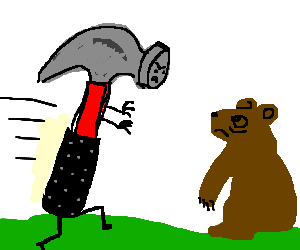 Bear being attacked by a hammer