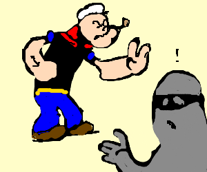 Popeye catches thief redhanded, demands he stop