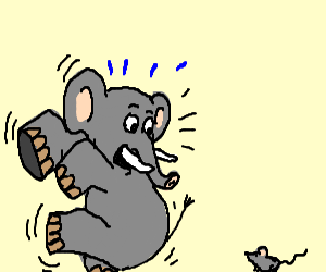 an elephant scared of a mouse