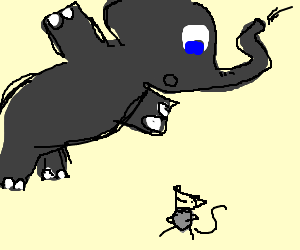 elephant scared of happy mouse