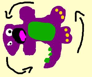 Barney doing a back flip