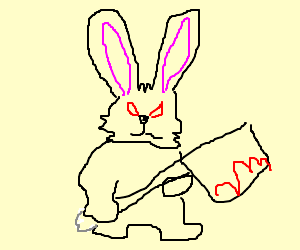 killer bunny with bloodstained cleaver