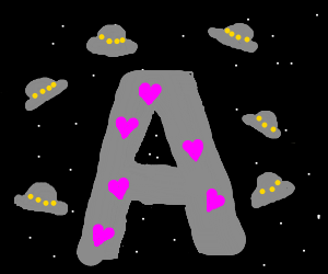 Giant A with hearts in space full of spaceships