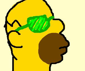 weird Homer S. w/ green diagonal shutter shades