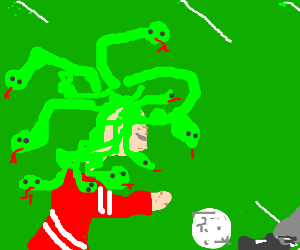 Rasta-Medusa plays soccer