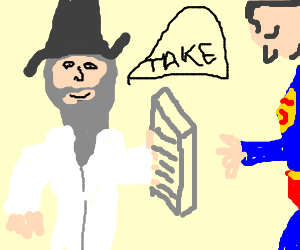 Superman takes Ten Comandments from Wizard Moses