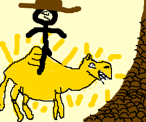 Cowboy on solid gold camel by choc chip mtns