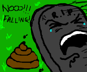 tombsone falling on a horse poop