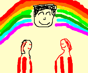 Rainbow man w/ his red and white striped friends
