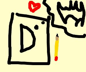 letter D with pencil loves bat symbol