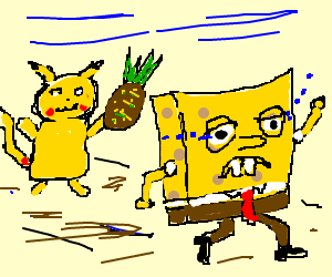 Pikachu attacks Spongebob with pineapple