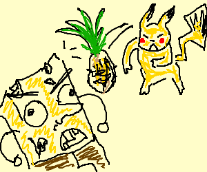 Pikachu uses pineapple attack on hick Spongebob