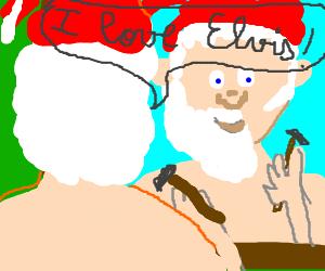 santaclaus telling he loves elvis