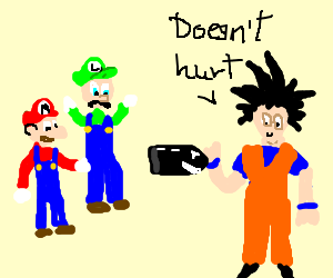 Mario+Luigi find out bullets dont work on Goku
