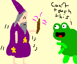 A sissy wizard fails to cast a spell on a frog