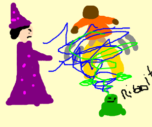 bad purple wizard turns mc hammer into frog