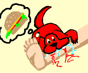 A dog colored red humps leg thinking burgers