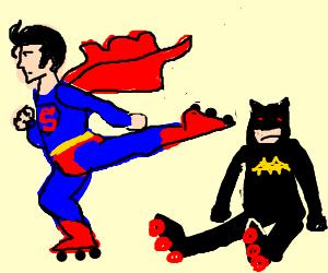 Superman and Batman roller skating