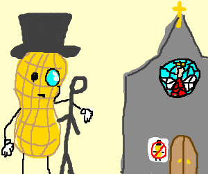 Mr Peanut and friend can't get into church