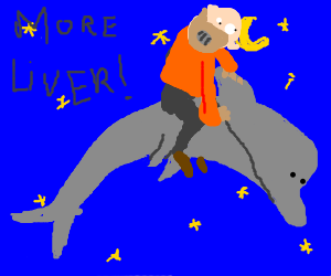 Hannibal Lecter (masked) riding a space dolphin.
