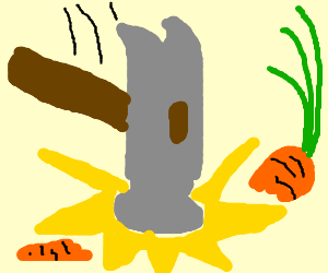 Hammer breaks carrot in two