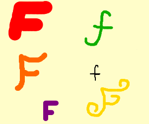 The Letter F In Different Colors And Fonts