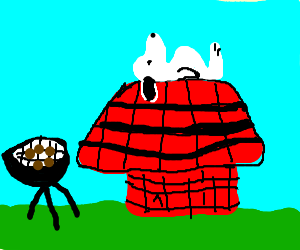 Barbecuing by Snoopy's summer doghouse.