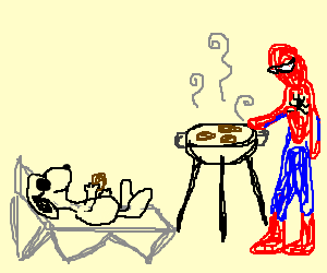 Snoopy chilling at a BBQ at Spiderman's house