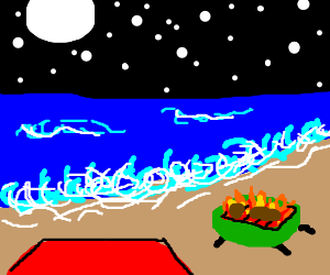 midnight BBQ on the beach