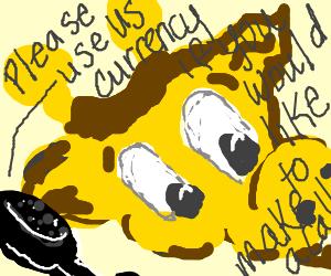 Geoffrey tries to use Geoffrey Dollars on phone