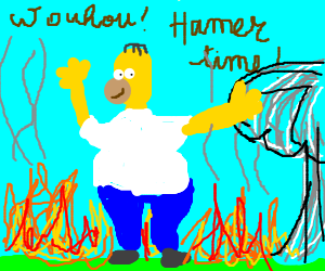 Homer is ready for Nuclear Hammer Time!
