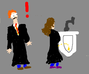 Hermione pees standing up in urinal, Ronald WTFs