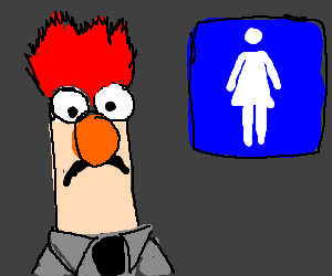 Beaker from the Muppets in the wrong bathroom