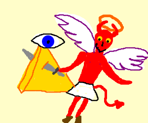 Angelic devil stabs holy allseeingeye pyramid