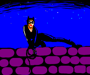 Catwoman over a purple wall
